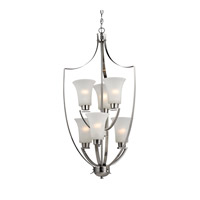 Cornerstone by Elk Signature 6 Light Foyer Pendant in Brushed Nickel with White Glass 7706FY/20