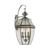 Ashford 3 Light 23 inch Antique Nickel Outdoor Wall Lantern