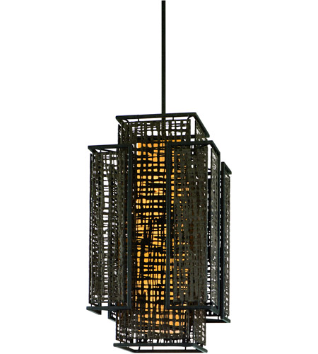 Corbett Lighting Shoji 3 Light Pendant Entry in Bonsai Bronze 105-74 photo