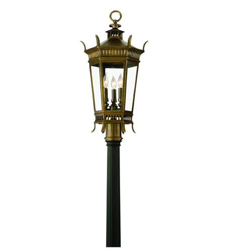 Corbett Greenwich 3 Light Exterior Post Lantern In Historic Brass 108-82 photo