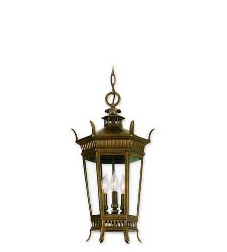 Corbett Greenwich 3 Light Exterior Hanging Lantern In Historic Brass 108-92 photo