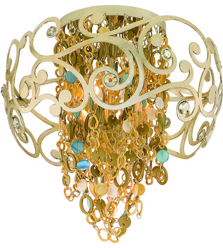 Corbett Lighting Le Tresor 4 Light Semi-Flush in Treasured Silver Leaf with Champagne Mist 121-34 photo