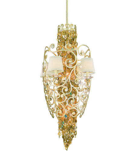 Corbett Lighting Le Tresor 10 Light Pendant Entry in Treasured Silver Leaf with Champagne Mist 121-710 photo