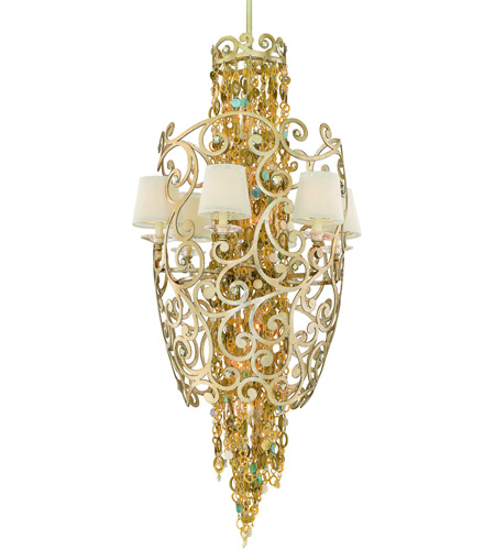 Corbett Lighting Le Tresor 12 Light Pendant Entry in Treasured Silver Leaf with Champagne Mist 121-712 photo