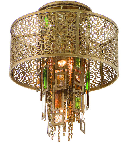 Corbett Lighting Riviera 1 Light Semi-Flush in Riviera Bronze with Silver Leaf 123-31 photo