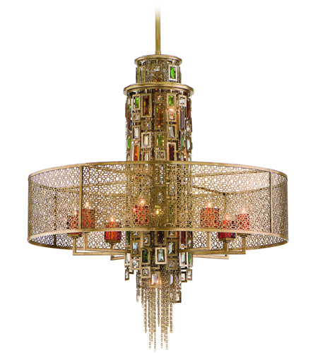 Corbett Lighting Riviera 13 Light Pendant Dining in Riviera Bronze with Silver Leaf 123-413 photo