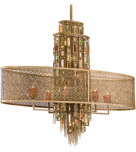 Corbett Lighting 123-511 Riviera 11 Light 45 inch Riviera Bronze with Silver Leaf Island Light Ceiling Light photo