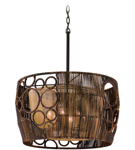 Corbett Lighting Havana 6 Light Pendant Dining in Two Tone Natual Wood 129-06 photo