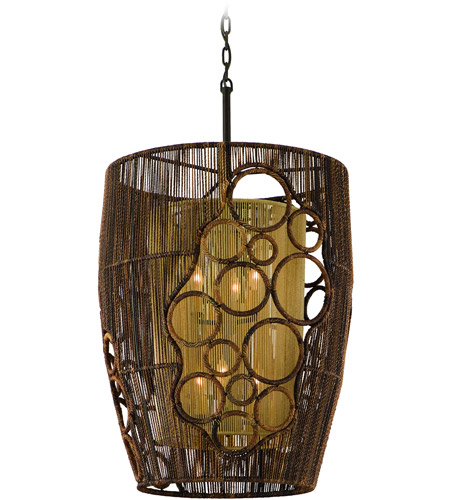 Corbett Lighting Havana 6 Light Pendant Entry in Two Tone Natual Wood 129-46 photo
