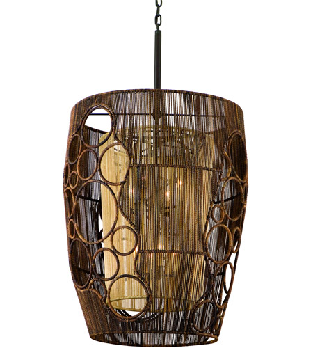 Corbett Lighting Havana 8 Light Pendant Entry in Two Tone Natual Wood 129-48 photo