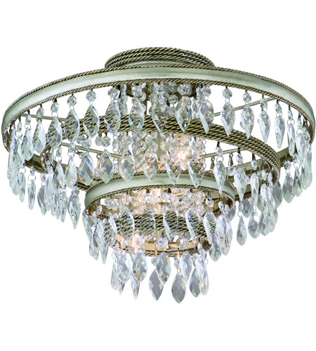 Corbett Lighting 132-33 Diva 3 Light 18 inch Silver Leaf with Gold Leaf Accent Semi-Flush Ceiling Light photo