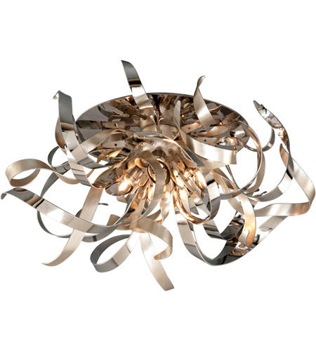 Corbett Lighting Graffiti 4 Light Semi-Flush in Silver Leaf and Polished Stainless 154-34 photo