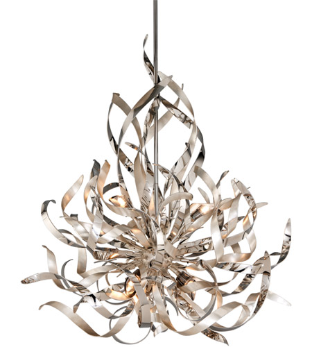 Corbett Lighting Graffiti 6 Light Pendant in Silver Leaf and Polished Stainless 154-46 photo