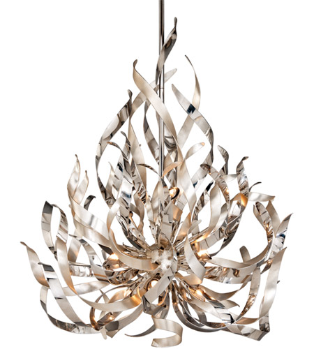 Corbett Lighting Graffiti 9 Light Pendant in Silver Leaf and Polished Stainless 154-49 photo
