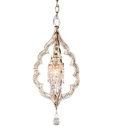 Corbett Lighting Bijoux 1 Light Mini-Pendant in Silver Leaf With Antique Mist 161-41 photo