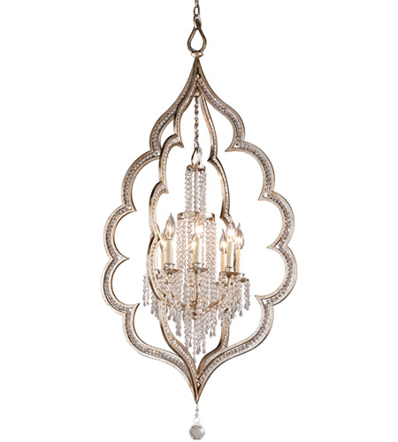 Corbett Lighting Bijoux 8 Light Pendant in Silver Leaf With Antique Mist 161-48 photo