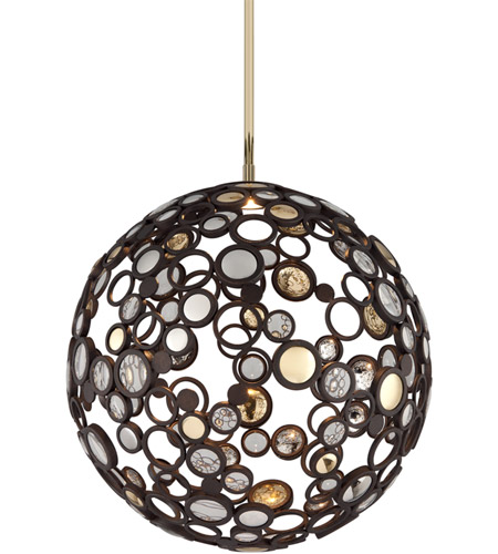 Corbett Lighting 188-42 Fathom LED 23 inch Bronze with Polished Brass Pendant Ceiling Light photo