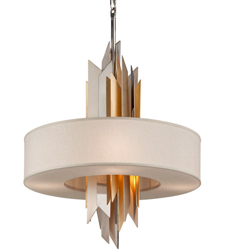 Corbett lighting 207 46 modernist 6 light 28 inch polished stainless with silver and gold