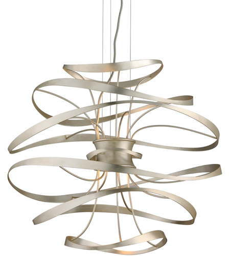 Corbett Lighting 213-42 Calligraphy LED 26 inch Silver Leaf and Polished Stainless Pendant Ceiling Light photo