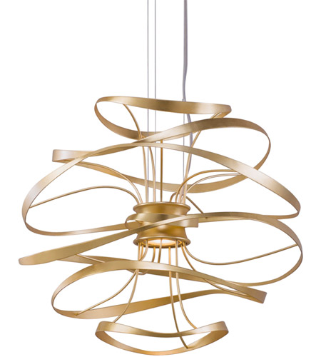 Corbett Lighting 216 41 Calligraphy Led 18 Inch Gold Leaf With Polished Stainless Accents Pendant