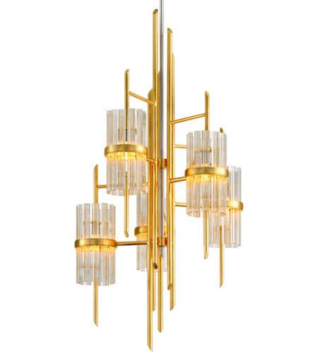 Corbett Lighting 257 75 Symphony 5 Light 27 Inch Gold Leaf Chandelier Ceiling