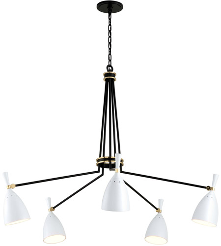Corbett Lighting 281-05 Utopia LED 51 inch Satin Black and Polished Brass Chandelier Ceiling Light photo thumbnail