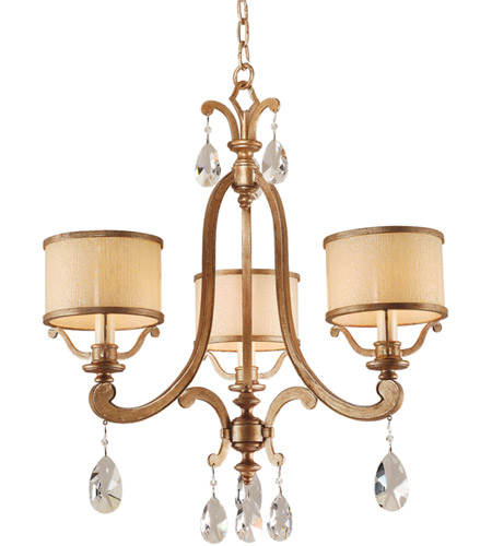 Corbett Lighting 71-03 Roma 3 Light 23 inch Antique Roman Silver Chandelier Ceiling Light photo