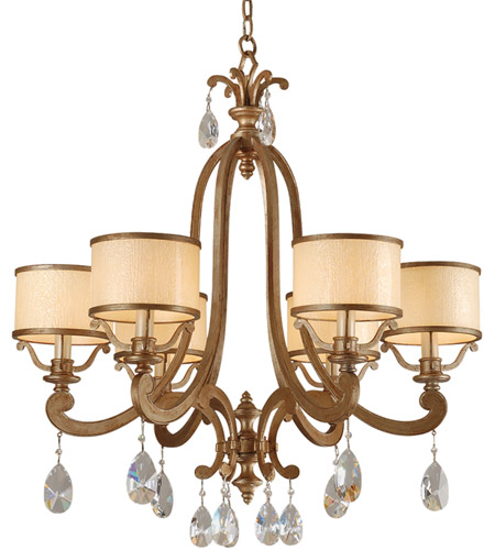 Corbett Lighting 71-06 Roma 6 Light 28 inch Antique Roman Silver Chandelier Ceiling Light photo