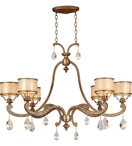 Corbett Lighting 71-56 Roma 6 Light 43 inch Antique Roman Silver Island Light Ceiling Light photo