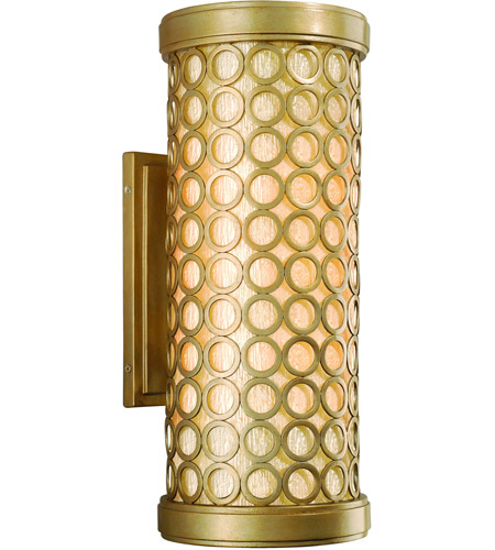 Corbett Lighting Bangle 2 Light Outdoor Wall Lantern in Silver Leaf with Antique Mist 72-22 photo