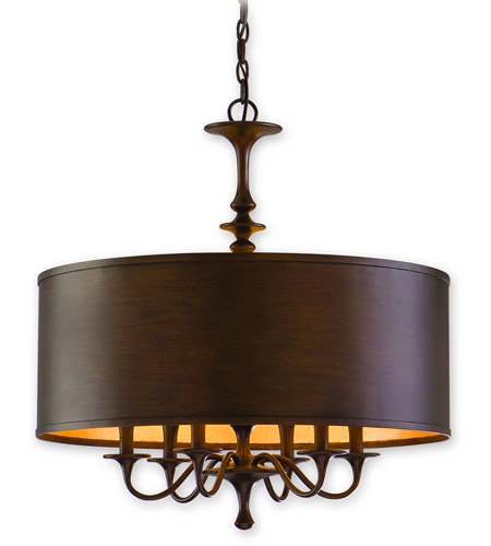 Corbett Lighting Bryant Park 6 Light Chandelier in Regent Bronze with Gold Leaf 80-06 photo