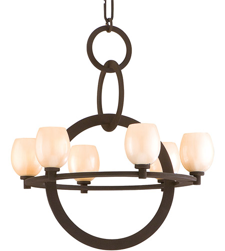 Corbett Lighting Cirque 6 Light Chandelier in Brown Suede 84-06 photo