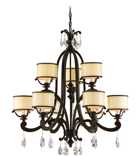 Corbett Lighting 86-09 Roma 9 Light 33 inch Classic Bronze Chandelier Ceiling Light photo