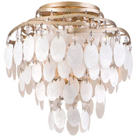 Dolce 3 Light 12 inch Champagne Leaf Semi-Flush Ceiling Light