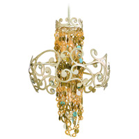 Corbett Lighting Le Tresor 4 Light Pendant in Treasured Silver Leaf with Champagne Mist 121-44