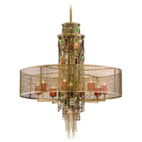 Corbett Lighting Riviera 13 Light Pendant Dining in Riviera Bronze with Silver Leaf 123-413