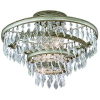 Corbett Lighting Diva 3 Light Semi-Flush in Silver Leaf with Gold Leaf Accent 132-33