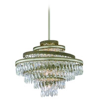 Diva 4 Light 18 inch Silver Leaf with Gold Leaf Accent Pendant Ceiling Light