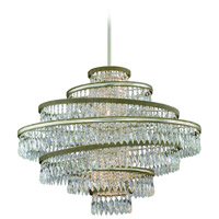 Diva 5 Light 30 inch Silver Leaf with Gold Leaf Accent Pendant Ceiling Light