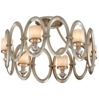 Corbett Lighting Embrace 6 Light Semi-Flush in Satin Silver Leaf 134-36