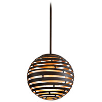 Corbett Lighting Tango 1 Light Pendant in Textured Bronze with Warm Silver Leaf 138-41