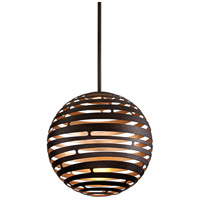 Corbett Lighting Tango 1 Light Pendant in Textured Bronze with Warm Silver Leaf 138-42