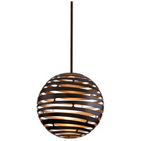 Corbett Lighting Tango 1 Light Pendant in Textured Bronze with Warm Silver Leaf 138-43
