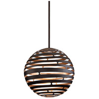 Corbett Lighting Tango 1 Light Pendant in Textured Bronze with Warm Silver Leaf 138-44
