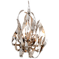 Graffiti 2 Light 14 inch Silver Leaf and Polished Stainless Wall Sconce Wall Light