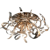 Graffiti 4 Light 24 inch Silver Leaf and Polished Stainless Semi-Flush Ceiling Light