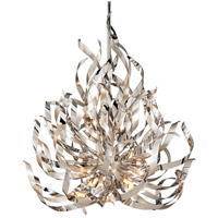 Corbett Lighting Graffiti 12 Light Pendant in Silver Leaf and Polished Stainless 154-412