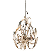 Graffiti 3 Light 15 inch Silver Leaf and Polished Stainless Mini Pendant Ceiling Light