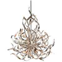 Corbett Lighting Graffiti 6 Light Pendant in Silver Leaf and Polished Stainless 154-46