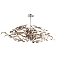 Corbett Lighting 154-56 Graffiti 6 Light 48 inch Silver Leaf and Polished Stainless Island Pendant Ceiling Light